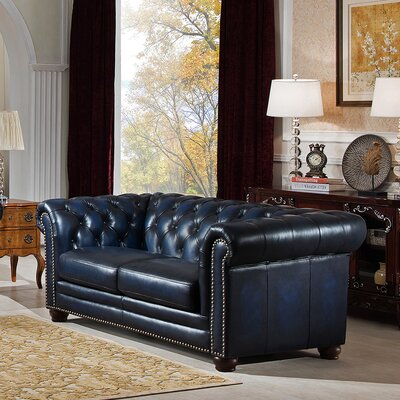 Amax Nebraska Leather Chesterfield Loveseat