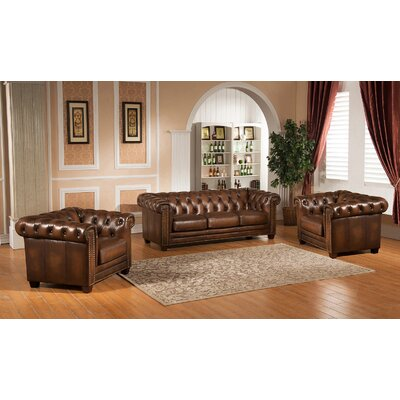Hickory Chesterfield Genuine Leather 3 Piece Leather Living Room Set