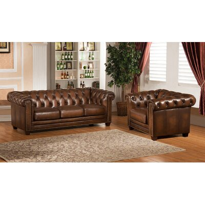 Hickory Chesterfield Genuine Leather Sofa and Chair Set