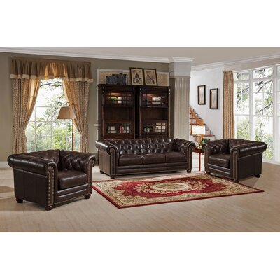 Kensington Top Grain Leather Chesterfield Sofa and Two Chair Set