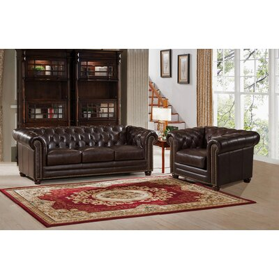Kensington Top Grain Leather Chesterfield Sofa and Chair