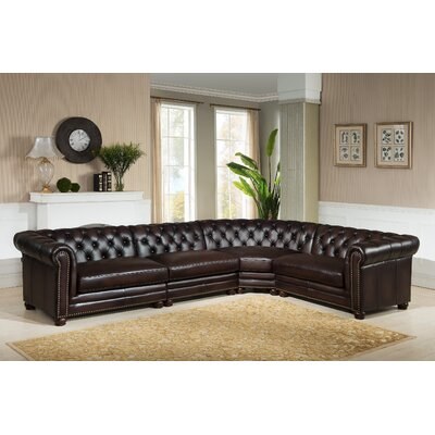 Bakersfield Leather Modular Sectional Orientation: Left Hand Facing