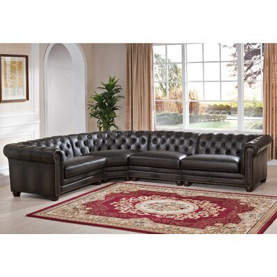 Anaheim Leather Modular Sectional Orientation: Right Hand Facing