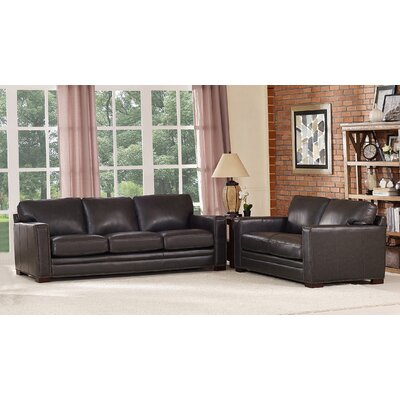 Neil Solid Leather 2 Piece Living Room Set