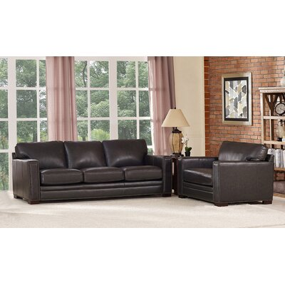 Neil Traditional Leather 2 Piece Living Room Set