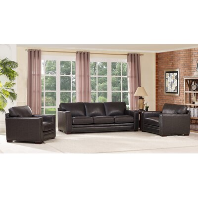 Neil Leather 3 Piece Living Room Set
