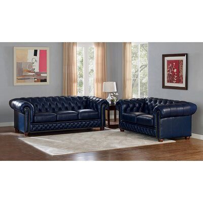 Forsyth Leather 3 Piece Living Room Set