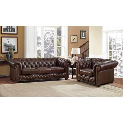 Walsh Brown Leather Sofa and Chair Set