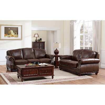 Connersville Leather Sofa and Loveseat Set