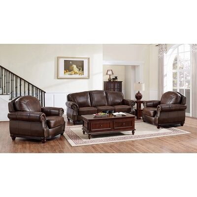 Mendenhall Leather 3 Piece Living Room Set