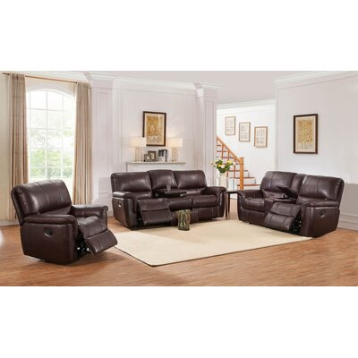 Deverell 3 Piece Brown Leather Reclining Living Room Set