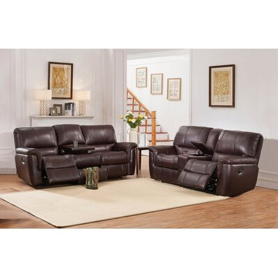 Deverell 2 Piece Brown Leather Reclining Living Room Set