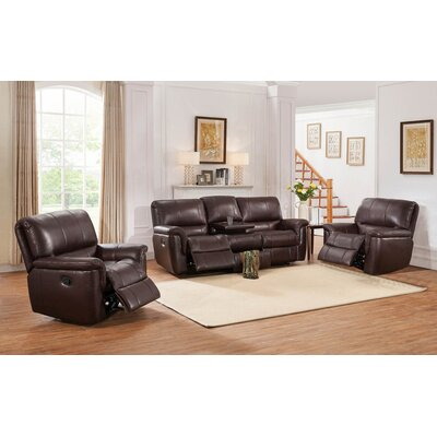 Darby Home Co DABY4636 Ayler 3 Piece Leather Reclining Living Room Set