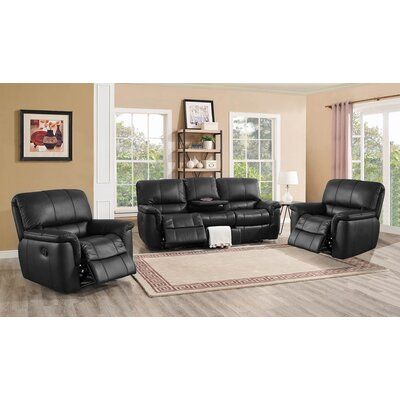 Averill Leather 3 Piece Living Room Set