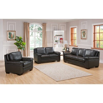 Aylesworth 3 Piece Grey Leather Living Room Set