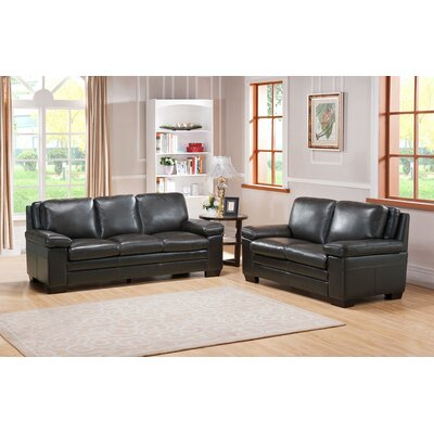 Aylesworth 2 Piece Gray Leather Living Room Set