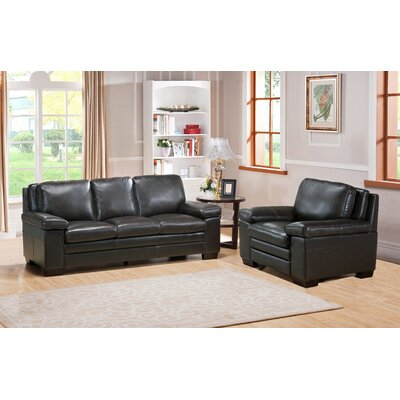 Aylesworth 2 Piece Leather Living Room Set