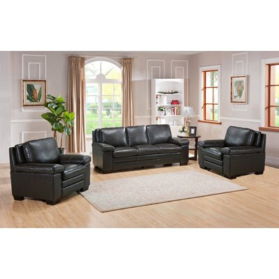 Devry 3 Piece Leather Living Room Set