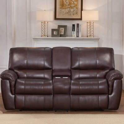 Deverell Leather Reclining Loveseat