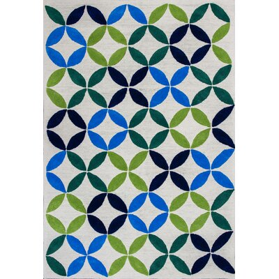 Kamron Pinwheels Hand-Tufted Ivory Area Rug Rug Size: Rectangle 5 x 7