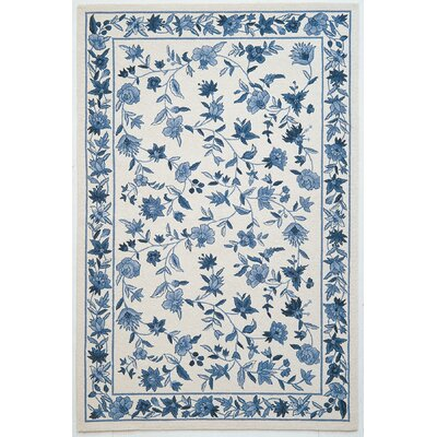 Colonial Ivory/Blue Floral Area Rug Rug Size: 1'8