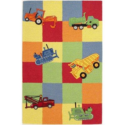 Kidding Around Trucks Galore Green/Yellow Area Rug Rug Size: Round 3'