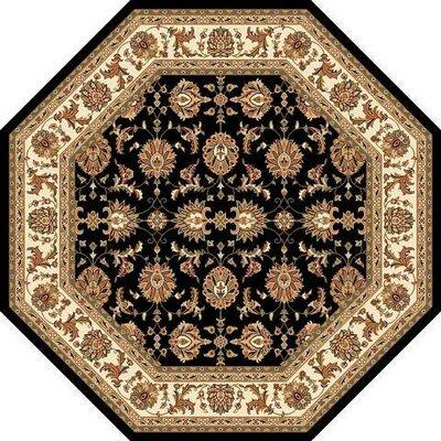 Bellville Kashan Hand-Woven Black/Ivory Area Rug Rug Size: Octagon 77
