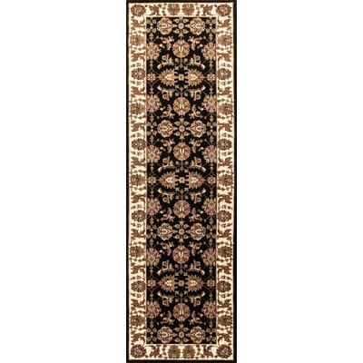 Bellville Kashan Hand-Woven Black/Ivory Area Rug Rug Size: Runner 22 x 711