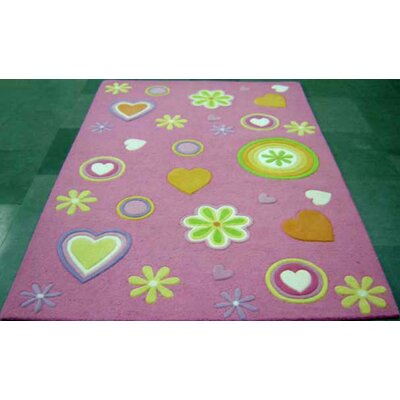 Dallin Hand-Tufted Wool Pink Girltime Area Rug