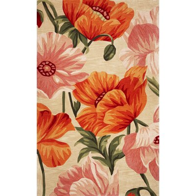 Shirlene Hand-Tufted Wool Sand/Orange Tulips Area Rug