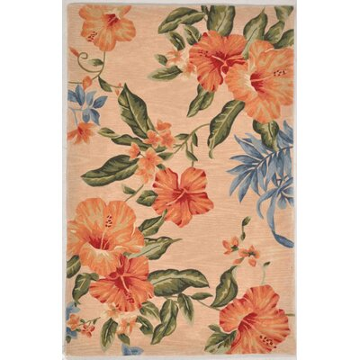 Shirlene Hand-Tufted Wool Blush Hibiscuz Area Rug