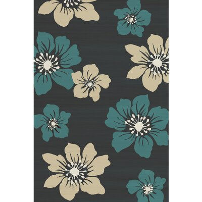 Bradshaw Hand-Tufted Charcoal/Teal Bloom Area Rug Rug Size: 5 x 8