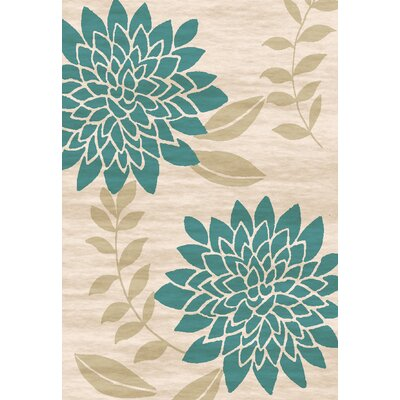 Bradshaw Hand-Tufted Teal/Ivory Area Rug Rug Size: 5 x 8