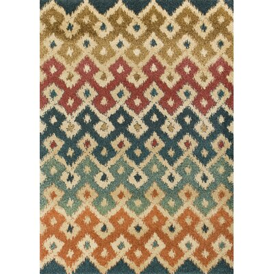 Brayden Green/Brown/Red Area Rug Rug Size: 53 x 77