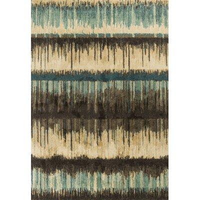 Brayden Sand/Teal Area Rug Rug Size: 53 x 77