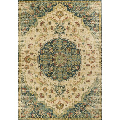 Holbrook Sand/Teal Area Rug Rug Size: Rectangle 53 x 77