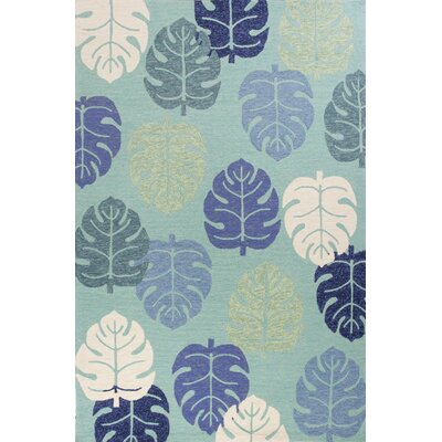 Affric Palms Hand Hooked Turquoise Indoor/Outdoor Area Rug Rug Size: Rectangle 5 x 76