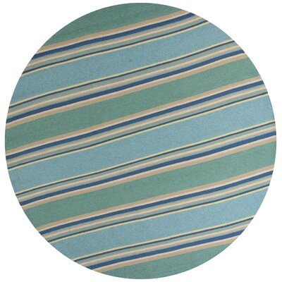 Affric Stripes Hooked Ocean Indoor/Outdoor Area Rug Rug Size: Round 76