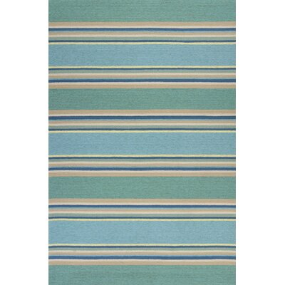 Affric Stripes Hooked Ocean Indoor/Outdoor Area Rug Rug Size: 76 x 96
