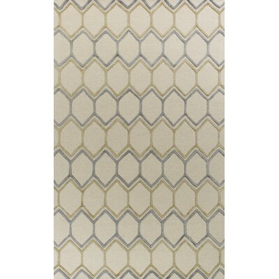 Buckleys Honeycomb Hand-Tufted Wool Ivory Area Rug Rug Size: Rectangle 5 x 76