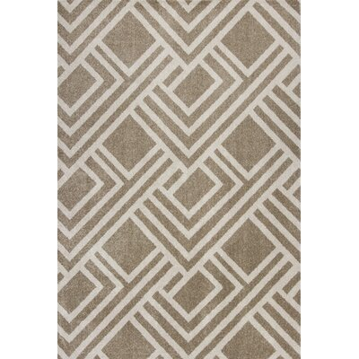 Lowesdale Geometric Beige Indoor/Outdoor Area Rug Rug Size: 53 x 77
