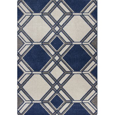Lynsey Ivory/Denim Indoor/Outdoor Area Rug Rug Size: 53 x 77