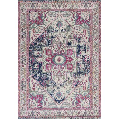 Curtice Ivory/Navy Sutton Area Rug Rug Size: Rectangle 53 x77
