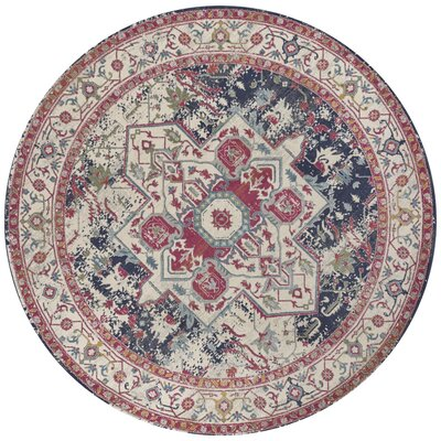 Curtice Ivory/Navy Sutton Area Rug Rug Size: Round 710