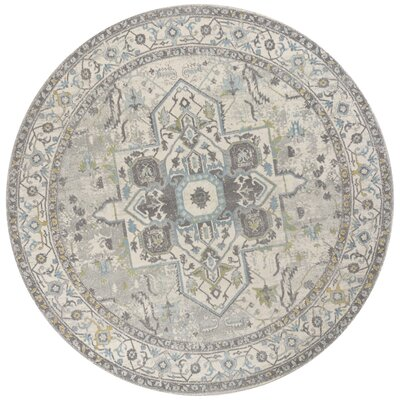 Curtice Gray/Blue Sutton Area Rug Rug Size: Round 710