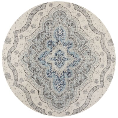 Curtice Gray/Blue Layla Area Rug Rug Size: Round 7'10