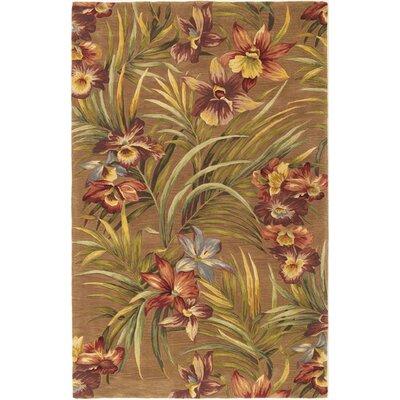 Agatha Orchid Garden Hand-Tufted Wool Mocha Area Rug Rug Size: 53 x 83