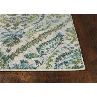 Hotch Ivory/Teal Area Rug Rug Size: 53 x 77