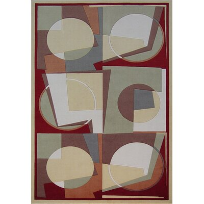 Dunlap Wool Red/Beige/Green Area Rug Rug Size: Round 56