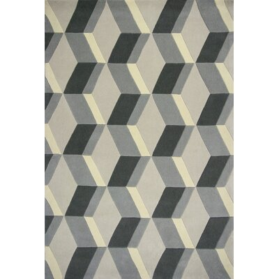 Henshaw 3D Geo Hand-Tufted Wool Gray Area Rug Rug Size: 79 x 99